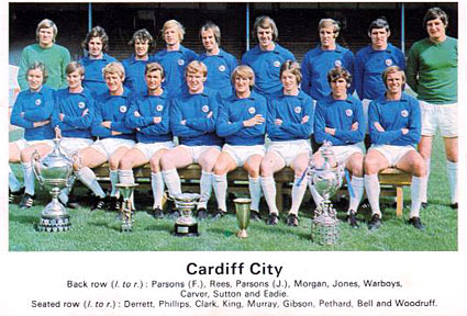 Cardiff City in 1967, wearing blue and white.